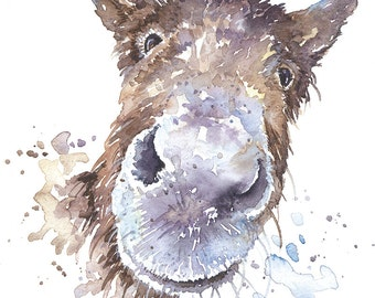 Donkey print from original watercolour painting