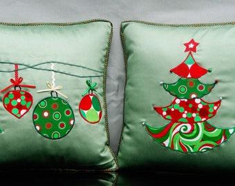 Christmas cushion covers,16'x 16' Cover, X'mas pillow,Decorated x'mas pillow,Green and Red Christmas Decoration,Tree,Bauble Appliqué cushion