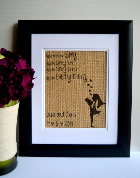 Wedding Gifts For Bride And Groom Who Have Everything : ... Wedding Song Lyrics Art - Everything - Wedding Date - Wedding Gift