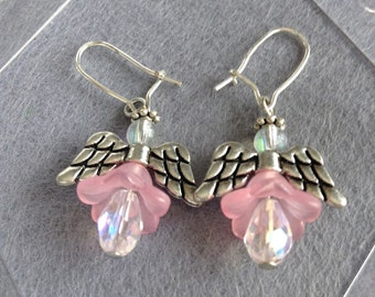 Pink angel earrings