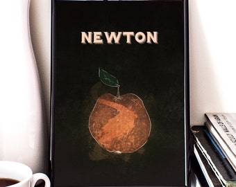 Newton, Apple, Science Poster, Physics, giclee art print, Law of Motion, Science, Wall Decor, Illustration