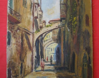 Shaul Ohali {Israel, 1922-2003} oil on canvas - Free Shipping