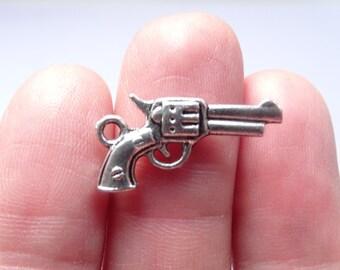 8 Gun Charms Antique Silver 21 x 11mm - SC067