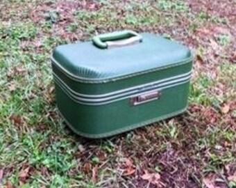 Vintage Train Case, Green Train Case, Vintage Luggage, Vintage Decor, Home Decor