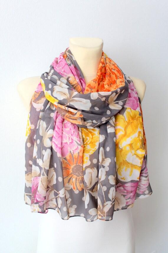 Floral Silk Scarf - Gray Fabric Scarf - Women Fashion Shawl - Unique Silk Scarf - Boho Scarf - Original Scarf - Floral Print Scarf