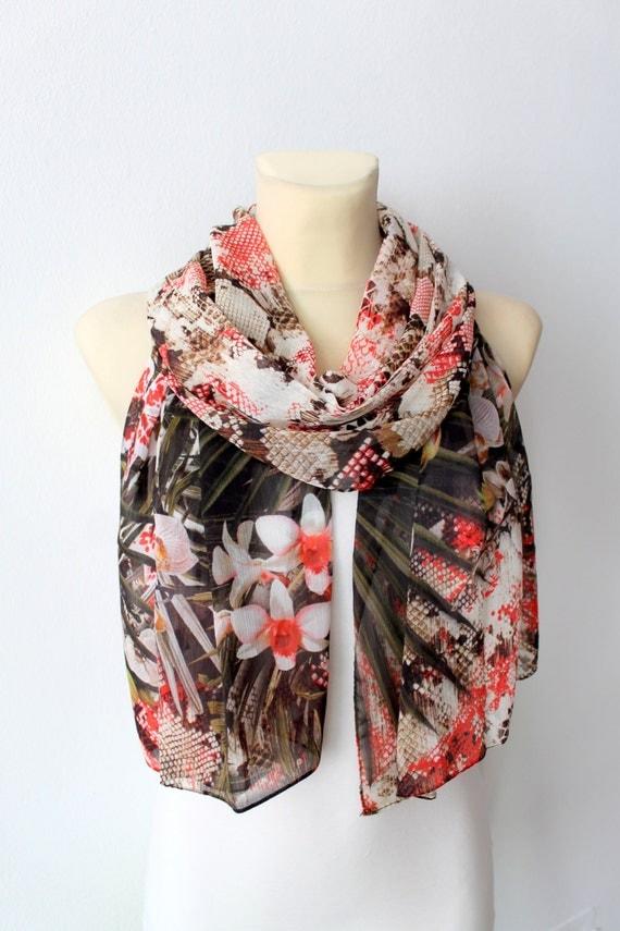 Garden Scarf - Womens Fashion Scarf - Unique Fabric Shawl - Original Printed Scarf - Boho Scarf - Gift Idea For Her - Best Friend Gift