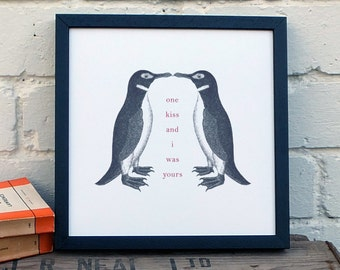 Penguin Print - Vintage Penguin Art - Love Print - Love Quote - Kissing Penguins (AP004)