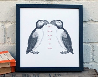 Puffin Print; Black and White Love Gift (AP006)