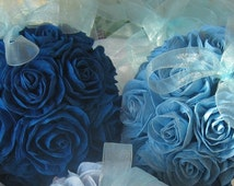 Set 2 Wedding teal peacock Royal Navy Blue hanging crepe paper flower balls Centerpieces pomander kissing balls flower girl rose baby shower