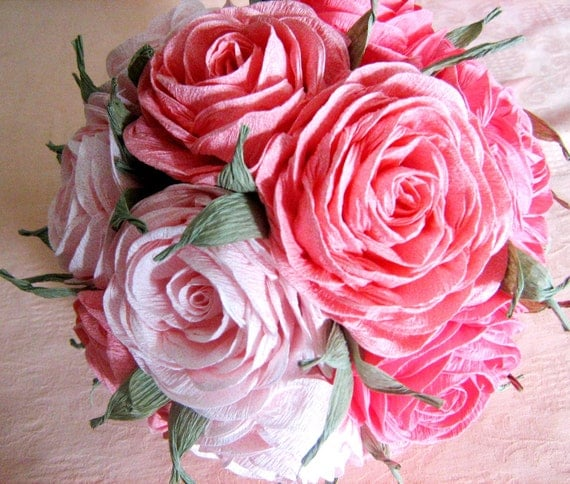 Blush Pink Coral Peach Crepe Paper Kissing Ball Flowers Bool