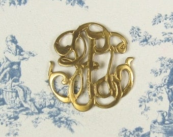 Small Unplated Brass Monogram Filigree 4-224-R