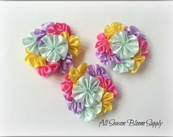 "Cluster Flowers, Satin Ribbon Flowers, Mint/Yellow/Pink/Lavender Flowers, 3.2""-3.5"" , DIY, Headbands, Accessories, HairBows"