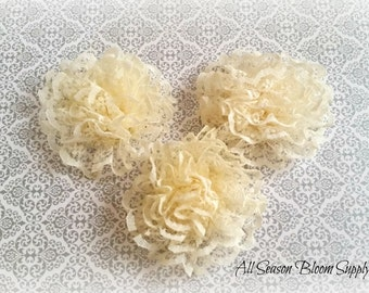 "Mini Lace Flower, Ivory, Fabric Flower, Satin flower, 2.5"" Lace Flower, DIY"