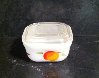 "Fire King Gay Fad 4"" x 4"" x 2 1/2"" Hand Painted Fruit Covered Casserole / Refrigerator Dish"