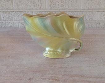 Vintage Brush Pottery Leaf Vase/ Rare Pearlescent Pastel