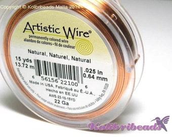 1x Artistic Wire Natural Copper Craft Wire 0.6mm (22Ga) - 13.72m