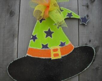 witch hat door hanger  - halloween decorations -  fall decorations - witch's decor - fall wall hanging - halloween -  housewarming