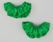 Pair of 2 Green Stackable Interchangeable Ruffles for Celegrity Leggings -also for Socks, Hair and bracelet Kids Fun Fashion