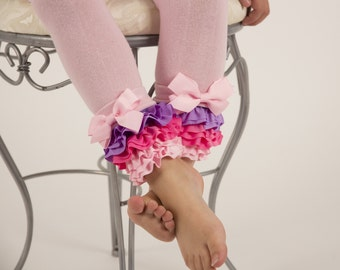 Pink ruffle tights, girl leggings, footless for baby and kids, size 0-12m to 4-6y