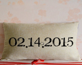Custom wedding date pillow cover,burlap lumbar throw pillowcase,Engagement throw pillow decor,wedding keepsake,Personalized home decor #8884