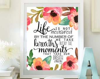 Inspirational Print nursery decor Teen Room Decor Typographic Quote watercolor print wall art decor digital print INSTANT DOWNLOAD 77-79