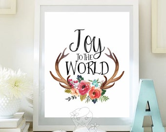 Christmas print Holiday Art Decor Christmas wall art printable winter decor holiday art decoration print  Joy to the world Print ID108-108