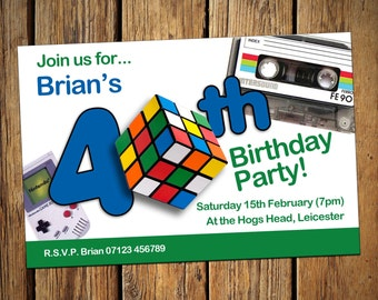 40th Birthday Personalised Party Invitations Rubix Cube