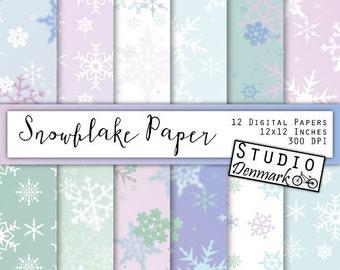 Snowflake Digital Paper - Christmas Snowflakes / Snow Frozen Winter Bokeh Backgrounds - White / Blue / Purple / Green - Instant Download