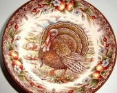 Thanksgiving Victorian English Pottery Turkey 11' Plate by Edward Chattinor, made in England