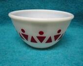 "Hazel Atlas Glass Mixing Bowl 5 3/4"" Red Dot Triangle on White"