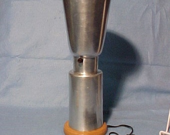 """Aluminum Table Lamp Wood Base 17 1/2"""" Modernistic Rewired"""