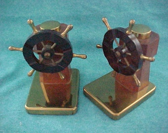 Chase Brass Bookends Pilot Pair 90138 Brown Bakelite