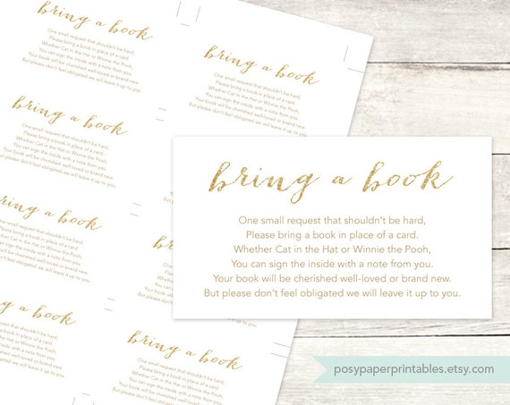 Gorgeous image for bring a book instead of a card printable