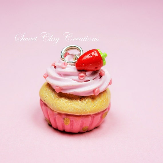 Pink Red Strawberry Cupcake Charm Pendant Necklace Miniature Food ...