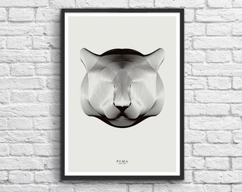 """Poster """"Animals in Moiré"""": Puma"""