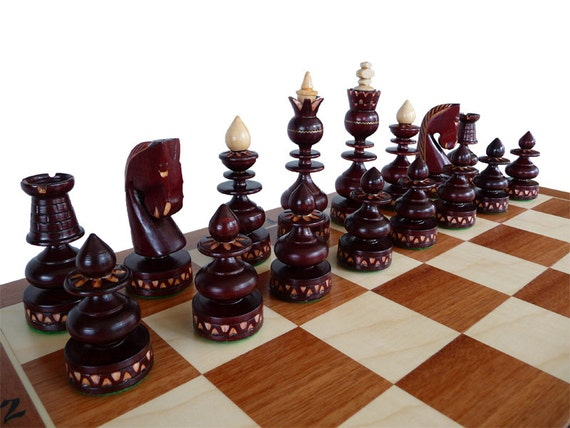 Unique Handmade Wooden Chess Set Marquetry By Stylishchess