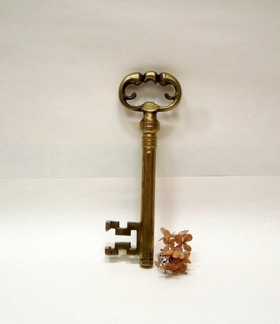 Extra large skeleton key brass french vintage antique