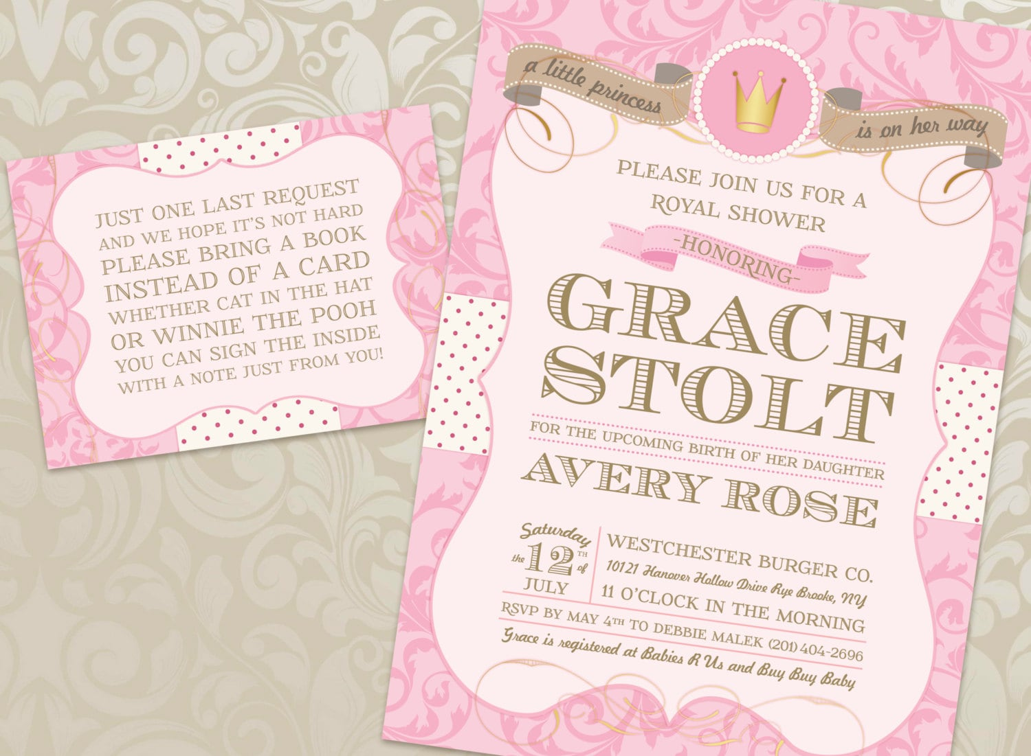 little princess baby shower invitation and book card with free