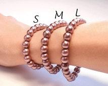 10 Steel Pink 8mm Pearl Bulk Bracelets // Lot of 10 Stretch Bracelets // Wholesale Jewelry // Wholesale Bracelets // Bulk Jewelry