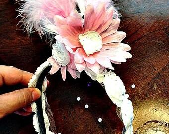 Beautiful White and pink Flower Feather headband with zebra print ribbon  black & white