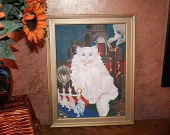 Vintage Wall Art of this Darling White Fluffy Cat With Gorgeous Big Blue Eyes Oil Painting In Gold Wood Frame.