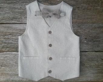 Boys LInen Waistcoat  Woodland Wedding Boys Vest Ring Bearer Outfit