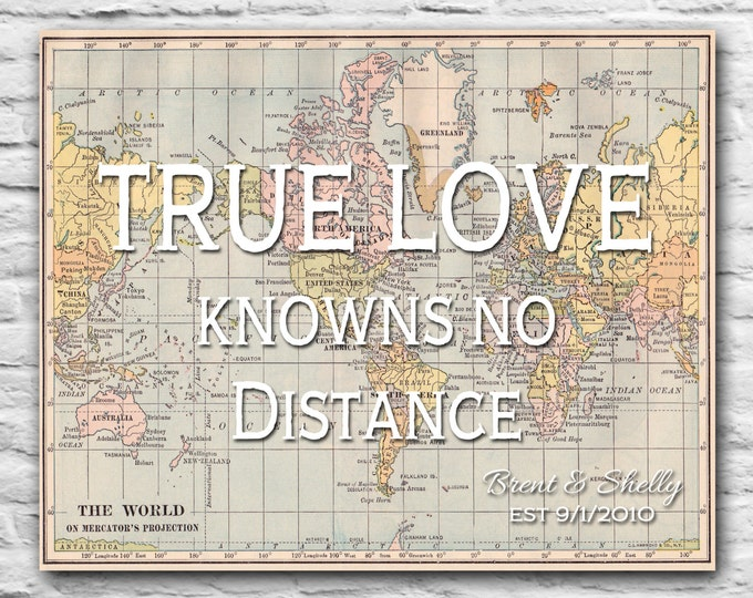 True Love Knows No Distance Custom Long Distance Relationship Gift, Personalized Anniversary Gift for Husband Boyfriend Military deployment