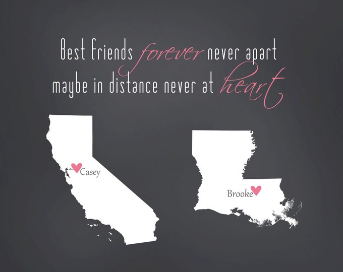 Best Friend Long Distance Print - BFF Gift - Gift for Best Friends - State Maps, Personalized Art Print Map BFF Farewell Going Away 8x10