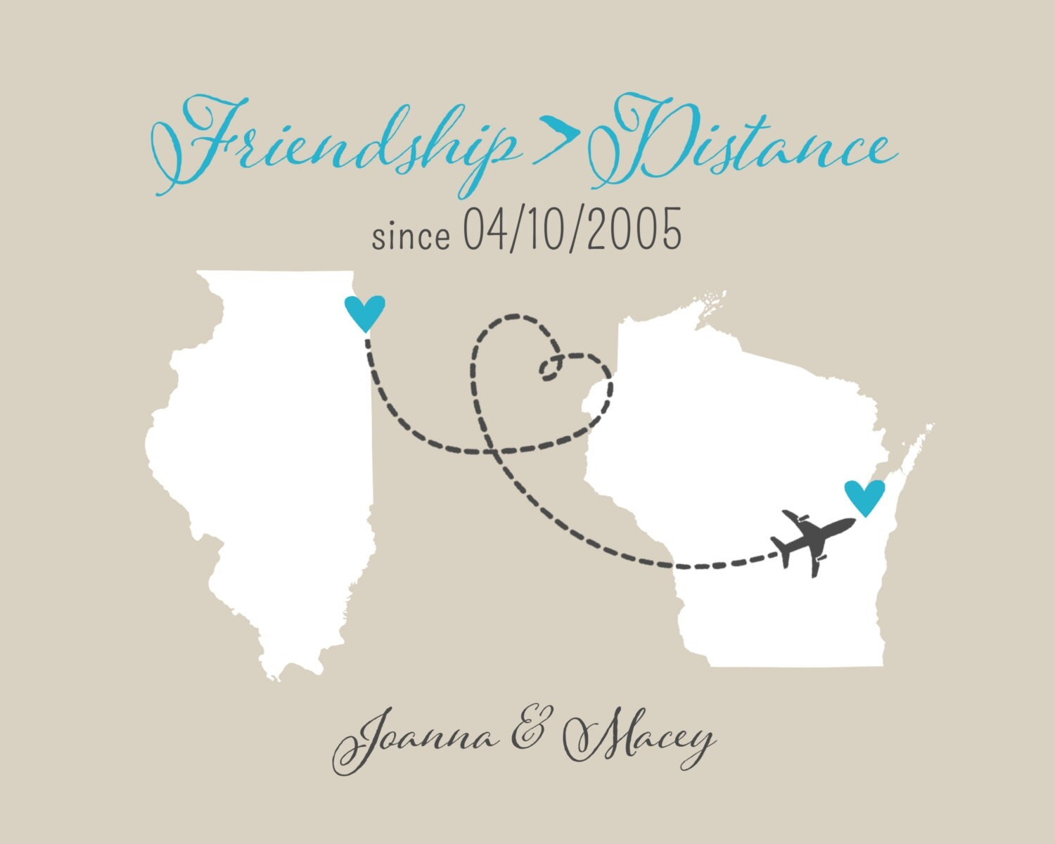 Quote About Distance And Friendship Best Friend Long Distance Print  Friendship Quote Heart State Bff