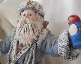 Santa Claus in a powder blue