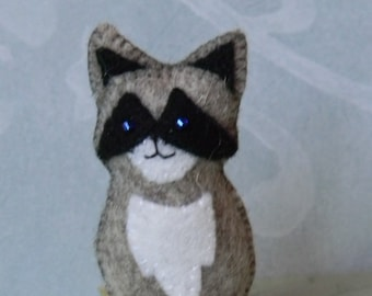 felt raccoon minature, ornament, or  finger puppet