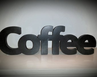 Wood Word Sign Coffee Decorative Word Kitchen Decoration