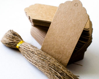 Scallop top kraft paper tags with jute string