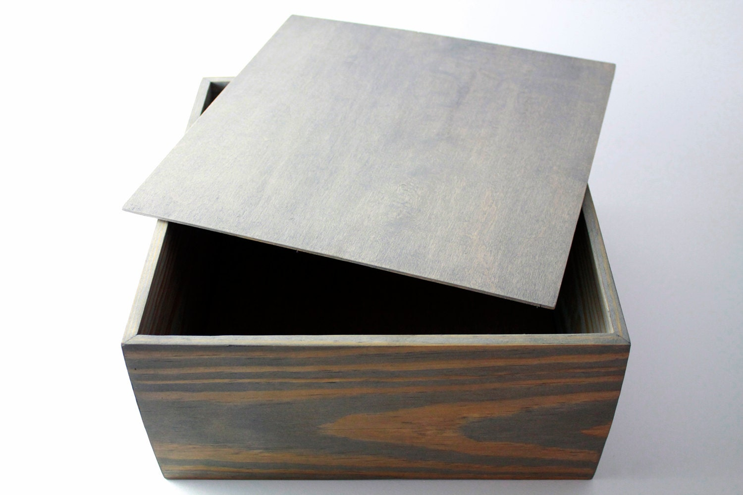 Wood Box With Lid 12x12x6 Classic Gray Stain Rustic Box Groomsman Gift Storage (12   sc 1 st  Etsy & Box With Lid 12x 12x 4 Wooden Pine Box Aboutintivar.Com